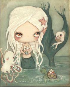 Mermaid Art Painting Nautical Tea Octopus Fish Sea by thepoppytree, $175.00