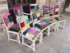 8 Antique solid oak chairs painted in shabby chic style and reupholstered with Designers Guild patchwork fabric. to order see www.sheremorady.co.uk
