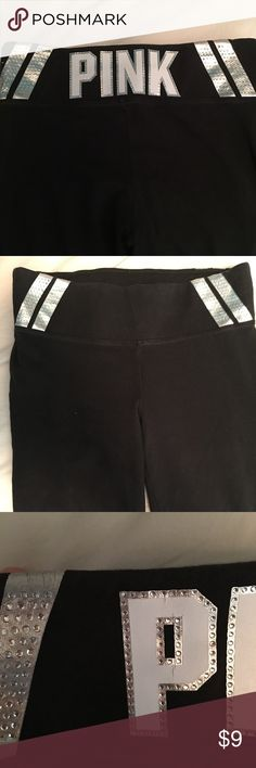 """Victoria's Secret XS yoga pants Worn several times only defects is the letter """"p"""" and one of the stripes on the side as shown. PINK Pants"""