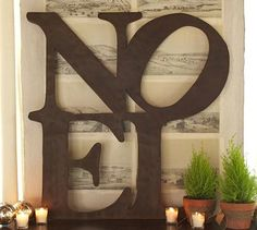 Noel Wall Art #potterybarn, I bet this could be made using cardboard letters from hobby lobby.