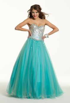 Sweet 16 Dresses - Long Corset Sequin Dress with Tulle Skirt from Camille La Vie and Group USA