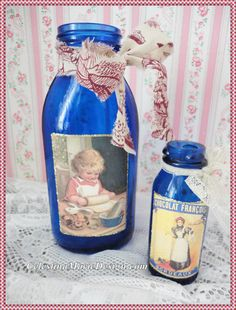 Hey, I found this really awesome Etsy listing at https://www.etsy.com/listing/208602612/vintage-cobalt-blue-bottle-with-little