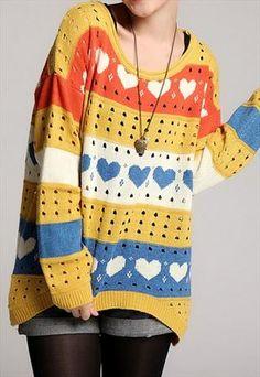 5ad862ca8b1 Loose heart sweater knitwear Suéter De Corazón