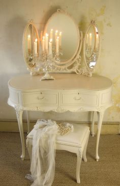 Absolutely gorgeous vintage French Louis style dressing table. Candles...awwww.