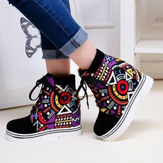 Splicing Geometric Pattern Tie Up Ankle Boots #shoes, #jewelry, #women, #men, #hats, #watches