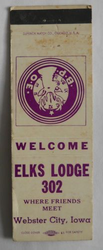 B.P.O.E. Elks Lodge # 302 Webster City IA Hamilton Matchcover 122113