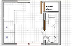 Great reminder that a broom closet could be useful in a laundry room. Great reminder that a broom closet could be useful in a laundry room. Laundry Bathroom Combo, Mudroom Laundry Room, Laundry Room Layouts, Laundry Room Design, Basement Bathroom, Bathroom Ideas, Bathroom Inspiration, Bathroom Plumbing, Bathroom Closet