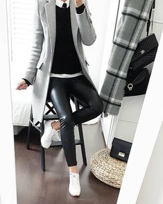 Black leather pants, white shirt, black pullover knit, gray overcoat over … – Outfit Inspiration & Ideas for All Occasions Mode Outfits, Office Outfits, Chic Outfits, Winter Outfits, Fashion Outfits, Fashion Mode, Look Fashion, Autumn Fashion, Womens Fashion