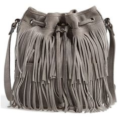 Women's Patricia Nash 'Bronte' Fringe Bucket Bag ($99) ❤ liked on Polyvore featuring bags, handbags, shoulder bags, grey, fringe handbags, suede handbags, fringe bucket bag, suede fringe purse and man bag