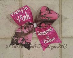 Pretty in Pink Dangerous in Camo cheer bow by AlltheFrillsBowtique Disney Cheer Bows, Cute Cheer Bows, Cheer Mom, Cheer Stuff, Making Hair Bows, Bow Making, Camo Bows, Cheerleading Photos, Pony O