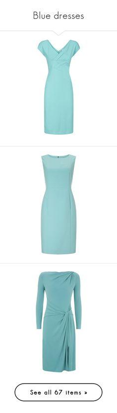 """Blue dresses"" by lorika-borika on Polyvore featuring dresses, blue draped dress, giorgio armani, drapey dress, blue jersey dress, blue green dress, petite, sleeved maxi dress, blue maxi dress и mini dress"