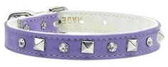 Mirage Pet Products Just The Basics Crystal and Pyramid Collars, 16-Inch, Purple -- Want additional info? Click on the image. (This is an Amazon affiliate link)