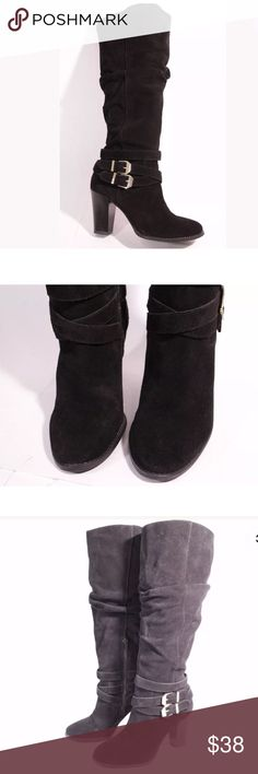 INC black leather knee high boots wide calf Pre owned, in good condition. Genuine leather INC International Concepts Shoes Heeled Boots