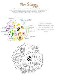 Bee happy free embroidery pattern