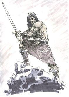 Conan by scottygod on DeviantArt Fantasy Images, Fantasy Rpg, Comic Books Art, Comic Art, Conan The Destroyer, Sword Poses, Great Sword, Conan Comics, Western Comics