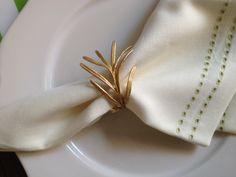 Gold rosemary napkin ring