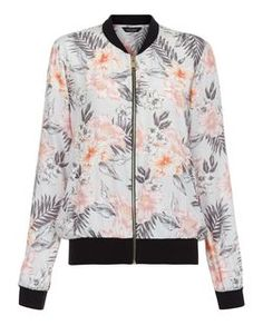Grey Tropical Print Bomber Jacket  | New Look