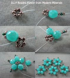 Beaded flowers. Can make these into a bracelet. #Seed #Bead #Tutorials: