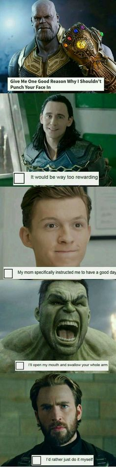 Ummm… Peter doesn't have a mom, but I'm still gonna pin this - Marvel Fan Arts and Memes Funny Marvel Memes, Dc Memes, Avengers Memes, Marvel Jokes, The Avengers, Marvel 3, Marvel Universe, Thanos Marvel, Tom Holland