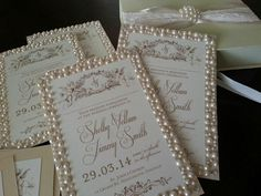 The Great Gatsby styled custom couture MUSICAL invitation by Music Box Invites with pearls and gold accents. Of course it can be customized any way you like! For any type of wedding, party, shower, etc.