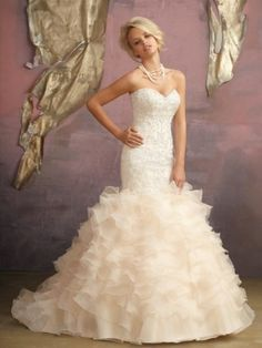 Trumpet/Mermaid High Neck Short Court Trains Organza Wedding Dress with Beading
