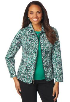Abstract Mosaic Pucker Print Jacket