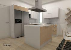3D- visualisointi ja sisustussuunnittelu uudiskohteeseen/ Modernin rivitalon keittiö, valkovahattu tammiparketti, valkoiset rungot, valkoiset ja tammiviiluiset ovet kiintokalusteissa, helmenharmaa välitilalaminaatti, rosteriset kodinkoneet, rosterinen moderni saarekeliesituuletin/ Keski-Suomen Rakennuskeskus, rivitalo Hollitaipaleentie 10, ennakkomarkkinointi/ 3D-sisustus Tilanna