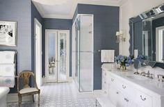 Blue grasscloth wallpaper bathroom