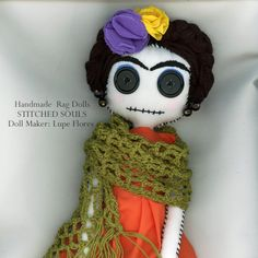 Frida Kahlo Handmade Stitched Souls Rag Doll by BlackWillowGallery, $80.00