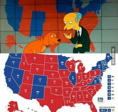 """Not only did the Simpsons predict Trump winning, they even """"predicted"""" the electoral map and they got it right. The Simpsons, Simpsons Cartoon, Best Funny Pictures, Funny Images, 9 Gag, Trump Wins, New Gossip, Funny Animal Memes, Conspiracy Theories"""