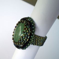 Bead Embroidery  ring  Elegant ring  Emerald green  by Vicus, $15.00