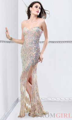 Strapless Sequin Covered Prom Dress