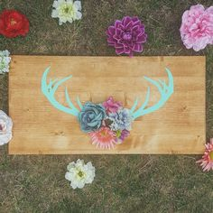 Rustic chic decor. Christmas gift for her. Use code SHOPSMALL150 for discount! This is a Custom Flower Skull Deer Antler listing, The perfect gift or added touch to your country home, or log cabin. A wonderful gift for the hunter, especially the ladies!    This sign is *Made To Order* so the time to ship may be a bit longer depending on volumes, -usually no longer than 5 days #shopsmall150