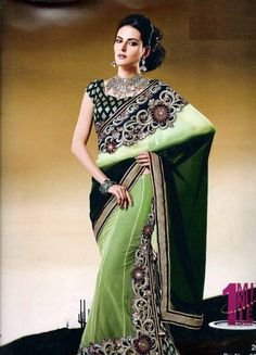 Trendy and comfortable ready to wear saree in designer collection will definetly give you the style statement. This is Shaded Olive Green Net, Viscose Jacquard One Minute Saree with BlouseThe drape created of elegant patch work and pallu crafted of same. It has Brocade blouse. The unstitched matching blouse material can be customised as per the requirement limited to availability of material. Available blouse material length is 80 cm.