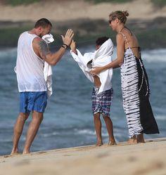 Heidi Klum and Martin Kristen took Henry to the beach in Hawaii.