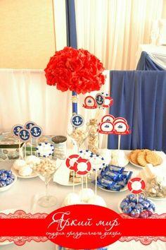 Аксессуары для свадьбы в морском стиле.Бюджетное оформление чайного столаб