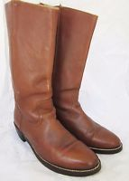 MENS VTG FRYE CAMPUS Caramel Brown Leather TALL RIDING MOTORCYCLE BOOTS USA 10.5