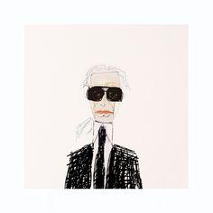 Karl Lagerfeld - Dans le cadre de la Fashion Week de New-York qui s'est déroulée en Février 2015, le designer et illustrateur McAmis a réalisé pour le magazine Instyle toute une série d'illustrations représentant des icônes de la mode et de la musique. Inspiré par l'excentricité de ces personnes influentes, l'artiste a voulu leur rendre hommage, en mettant en valeur leur personnalité par le biais de petits portraits réalisés à l'aquarelle principalement.