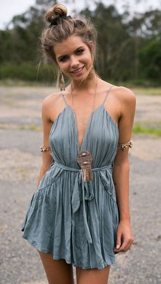 Casual Cute Modest Ruffle Dress - Boho Outfits - Bohemian Style - Indie Fashion - Top Bun Trending 2017 Hairstyle -  MyBodiArt.com