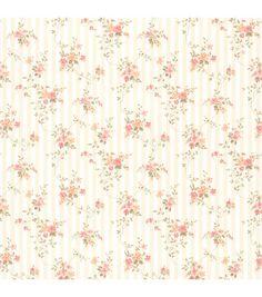 Delilah Peach Floral Stripe Wallpaper