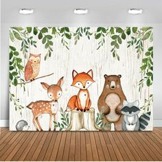Mehofoto Woodland Baby Shower Birthday Backdrop Woodland Animals Photography Background Vinyl Woodland Baby Shower Party Backdrops Fitness-Outdoors Technology Trackers Home Cinema-Video Accessories Fotos Baby Shower, Deco Baby Shower, Baby Shower Backdrop, Baby Shower Photos, Woodland Creatures, Woodland Animals, Jungle Animals, Party Kulissen, Shower Party