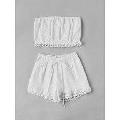 Lace Crop Bandeau Top And Shorts Set ($11) ❤ liked on Polyvore featuring bandeau top and bandeau bikini top