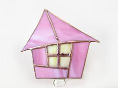 Pink Stained Glass Night Light Fairytale Cottage