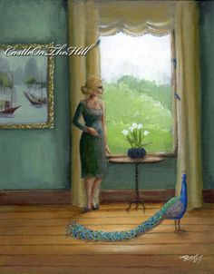 Josephine and Mimosa  original 8 x 10 acrylic by CastleOnTheHill #peacock #painting