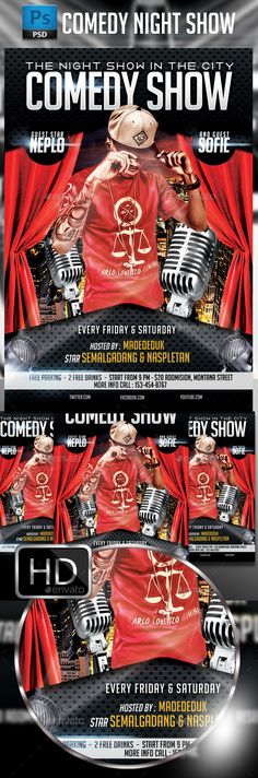 Comedy Show Flyer | Print Templates, Font Logo And Fonts