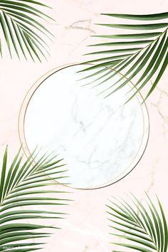 Round golden frame on a tropical background vector Illustration , Cool Backgrounds, Wallpaper Backgrounds, Iphone Wallpaper, Leaves Wallpaper, Wallpaper Ideas, Marble Card, Tree Borders, Tropical Background, Background Ideas