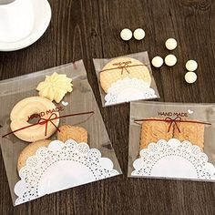 Astra shop 300 PCS Lovely Cute Bowknot OPP Self Adhesive Bags in 3 Sizes for Cookie Bakery Candy Biscuit Roasting Treat Gift  100pcs Each Size