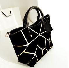 Women Fashion Patchwork Zipper Black Gold Suede Clutches Bag(US$13.99)