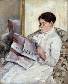 """Reading, Le Figaro"", (Portrait of Mary Cassatt's mother) c.1877-78. Gilded Age American Impressionist Artist, and printmaker: Mary Cassatt, (1844-1926). ~~ {cwl} ~~ (Image: Smithsonian American Art Museum)"