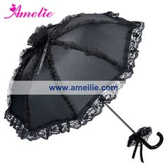 Free Shipping Black Color Gothic Lace Umbrella Black Wedding Men's Party Sun Umbrella